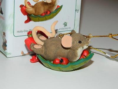 Charming Tails Holly Day Ride Ornament Xmas Mouse 4041174 Berries Mice Leaf New