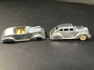 Pair of Vintage Die Cast Metal Parker Erie Zephyr & Convertible Cars