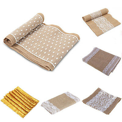 Various Sizes Jute Cloth Rustic Burlap Lace Table Runner Wedding Party Decor