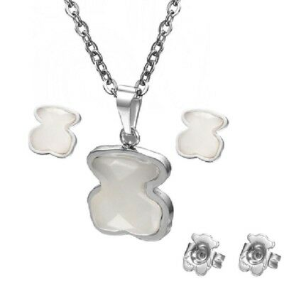 316 Stainless steel High Quality Natural agate Bear Necklace Pendant Earring
