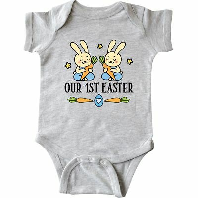 Inktastic 1st Easter Twin Boys Bunny Infant Creeper First Babys Twins Rabbit Hws