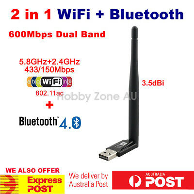 USB bluetooth V4.0+Dual Band Wireless AC WiFi Adapter 2in1 Dongle 3.5dBi antenna