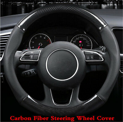 15 inch Carbon Fiber Stitching Steering Wheel Cover Black Non-slip Black 38cm
