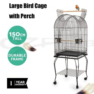 150cm Large Bird Cage Pet Parrot Aviary Stand-alone Budgie Perch Castor & Wheels