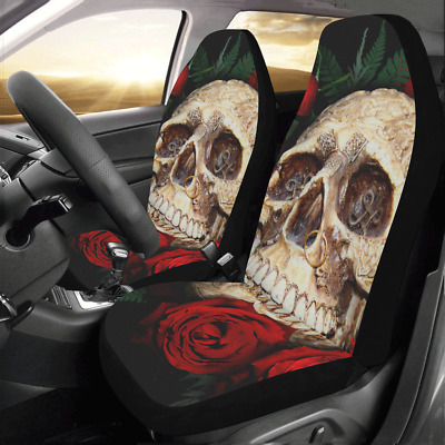 New Design Custom Flower Skull Protector Cushions Car Seat Covers (Set of 2)
