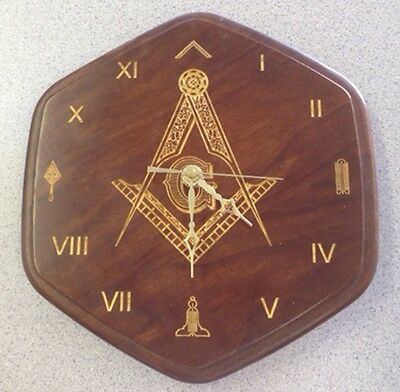 Masonic Solid Cherry Clock