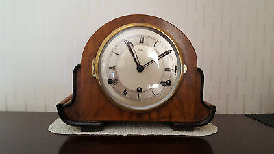 vintage art deco perivale wooden mantel clock with original key,in working order