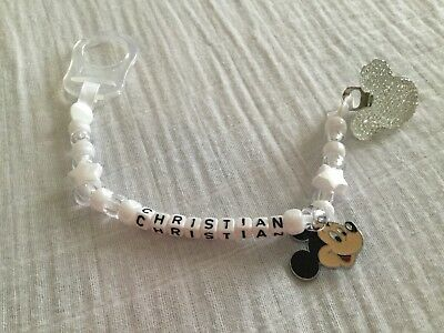 Personalised Hand Made Dummy Soother Pacifier Clip Minnie / Mickey MAM clip