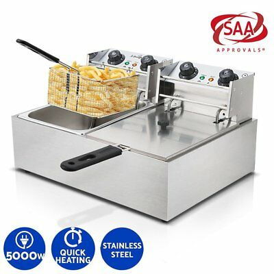 2X Chef Commercial 10L Electric Deep Twin 5000W Fryer Frying Basket Chip Cooker