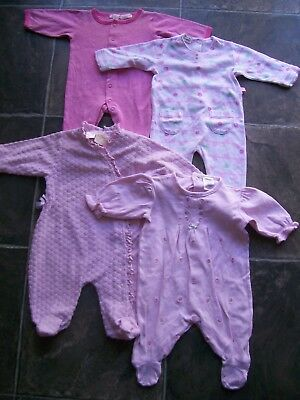 Baby Girl's Cotton Knit Coverall/Romper x 4 Incl Plum & Coitton On Size 000 VGUC