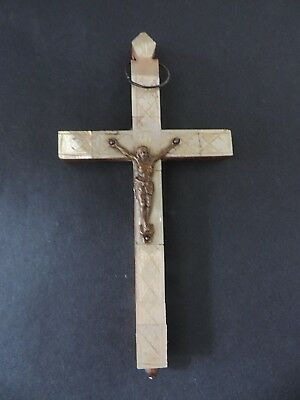 Rrr Rare Antique Vintage Handwork Wooden With Mother Of Pearl Crucifix Cross