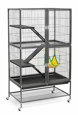 Prevue Hendryx 485 Pet Products Feisty Ferret Home with Stand, Black Hammertone