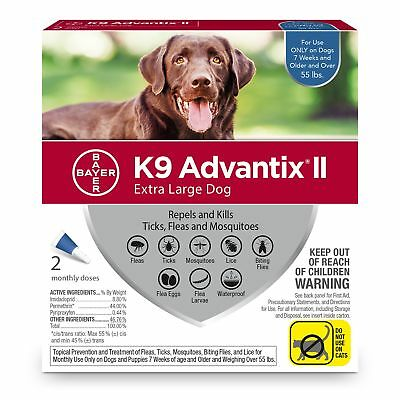 Bayer K9 Advantix II Flea, Tick and Mosquito prevention for XLarge Dogs, over 55