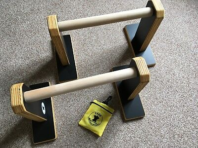P-Barz Core Strength Parallettes Wooden Excellent Condition Standard Height