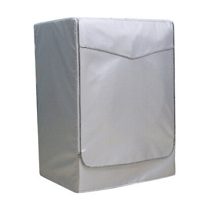 Washing Machine Cover Dust Proof Water Resistant Protector Silver Zip L