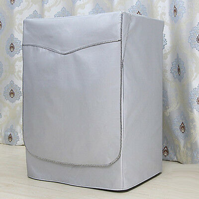 Washing Machine Cover Dust Proof Water Resistant Protector Silver Strap M