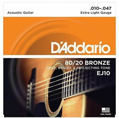 D'Addario EJ10 80/20 Bronze Extra Light Gauge Acoustic Guitar Strings