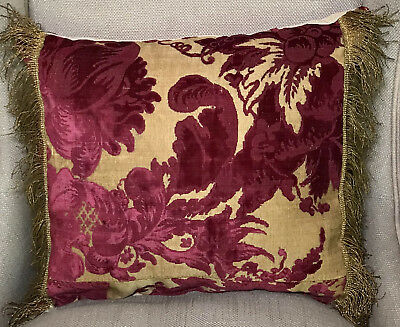 Antique Pillow Cisele  Cut Silk Velvet Metallic Gold Ground Italian C17th  Panel