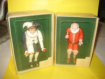 Hallmark 1983 Old Fashioned Santa & 1984 Holiday Jester Movable Arms & Legs SDBs