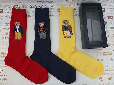 POLO RALPH LAUREN Exquisite Sock Asstd Large Novelty Bear Socks 3 pk BNIB  RRP£ 60b5c0da62ba