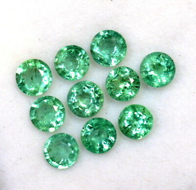 Natural Emerald Round Cut 4 mm Lot 10 Pcs 2.14 Cts Lustrous Green Loose Gemstone