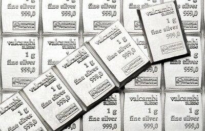 10 x 1 gram Valcambi Suisse Silver Bars | .999 Silver | Lot of 10