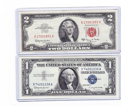 1953 or 63 $2 Dollar Red Seal Note & 1 1957 silver certificate lot of 1 each