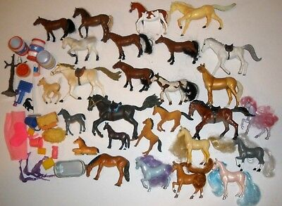50 Pc lot / 27 Small Plastic Pony Horses Miniature Toy