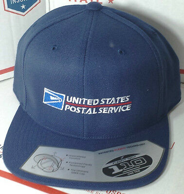 84c2263ed Usps Postal Flexfit Dark Navy Wool Blend Flat Bill Snapback Hat With Postal  Logo