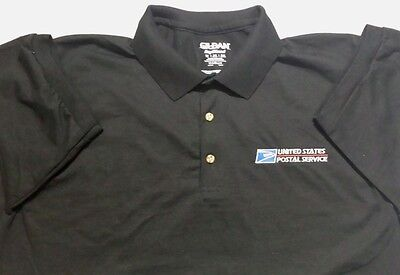 Usps Postal Black Polo Shirt With Embroidered Postal Logo On Crest