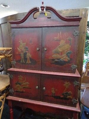 SAVE $ on DEL. Antique Chinoiserie Tole Painted Chinese Hutch Cabinet Cupboard