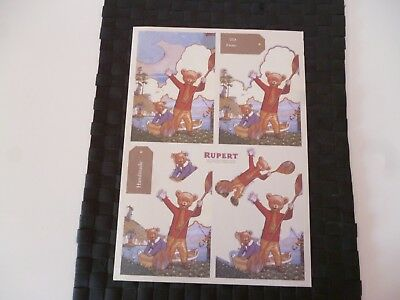 Rupert Bear Illustrated Colour A4 Thin Card Sheet (B) *please Read & As Pictures