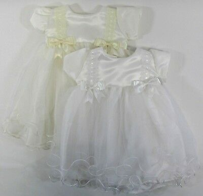Girls Christening Baby Dress White Cream Bows Lace Formal Party Frilly 0-6-12-18
