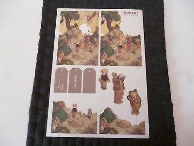 Rupert Bear Illustrated Colour A4 Thin Card Sheet (D) *please Read & As Pictures