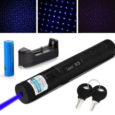 Military Blue Purple Laser Pointer 405nm Lazer Pen 303 + 18650 Battery + Charger
