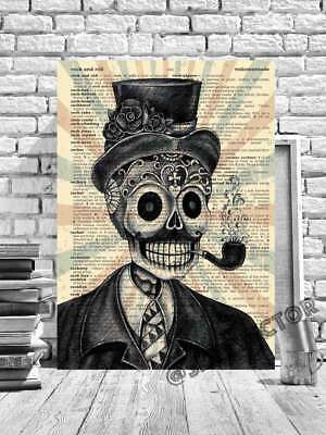 DAY OF THE DEAD SKULL FRAMED CANVAS PICTURE GOTHIC ARTWORK BOOK PAGE ART #164