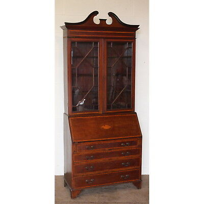Edwardian Inlaid Mahogany Bureau Bookcase with Astrical Glazed Doors & Fitted