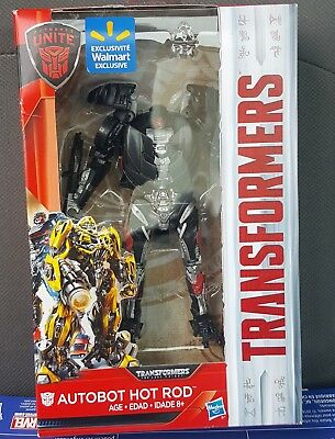 TRANSFORMERS THE LAST KNIGHT DELUXE CLASS AUTOBOT HOT ROD NIB! Walmart EXCLUSIVE