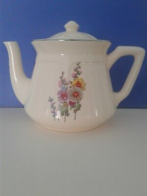 Universal Potteries Mount Vernon Teapot Hollyhocks