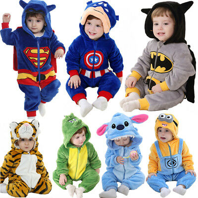 Baby Boy Animal Romper Fleece One Piece Pajamas Outfit Costume Party Fancy Dress