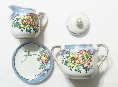Hand Painted Japan Sugar Bowl and Creamer Lustreware Blue & White with Flowers