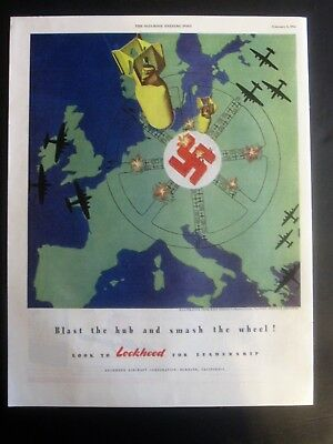 Bombs Fall on Swastika Over Europe WWII Ad