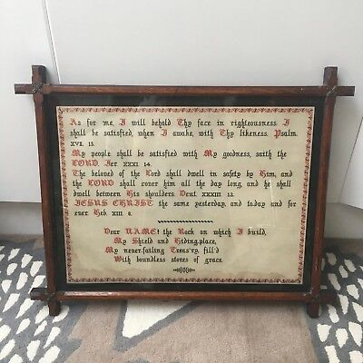 Antique Religious Sampler In Lovely Old Original Frame