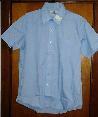 Vintage Fruit Of The Loom Short Sleeve Blue Oxford Shirt Large  New Old Stock