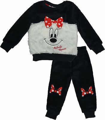 Disney Minnie Mouse Kids Girls Soft Coral Fleece Long Sleeve Pyjama Set