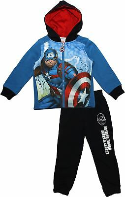 Marvel Avengers Boys Childrens Captain America and Iron Man Tracksuit with Hood