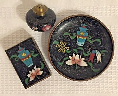Antique Cloisonne Set of Match Box Cover, Trinket Dish/Ashtray and Pepper Shaker
