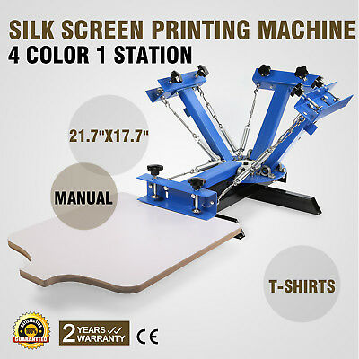 4 Color 1 Station Silk Screen Printing Machine Manual Print Printing Cutting New