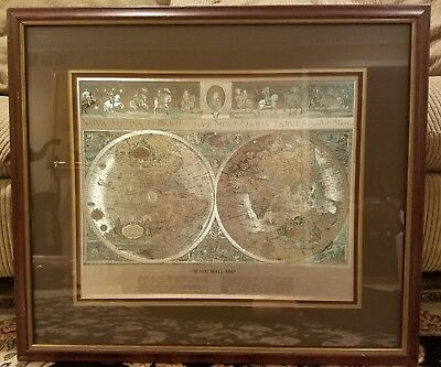 Vintage Teal & Gold Foiled Blaeu Wall Map of New World 30x26 TripleMatted Framed