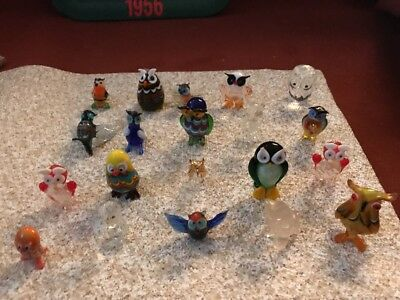 Lot Of 20 Glass Menagerie Figurines  Owls